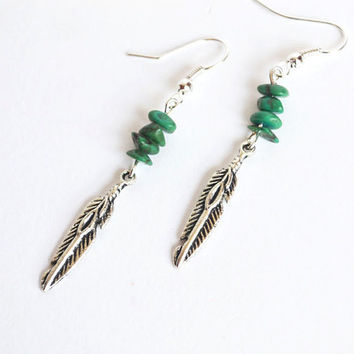 Native American Earrings. Feather Nature Inspired. Feather Turquoise Jewelry. Feather Earrings.