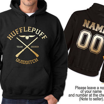 Hufflepuff Quidditch Potter Hoodie T-shirt Team Seeker Captain Hooded Sweatshirt Customize Back Name And Number, Unisex S - XXL