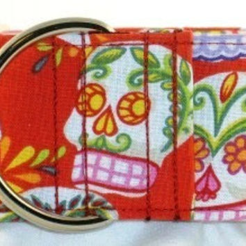 2 inch sugar skulls martingale collar, greyhound martingale collar, red martingale dog collar--Calaveras Day of the Dead-Red