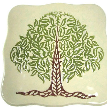 Tree of Life Plate, Green Tree Pottery Dish, Ceramic Tree Plate, Tree Kitchen Decor, Modern Tree Dish, Nature Decor Plate, Rustic Tree Plate