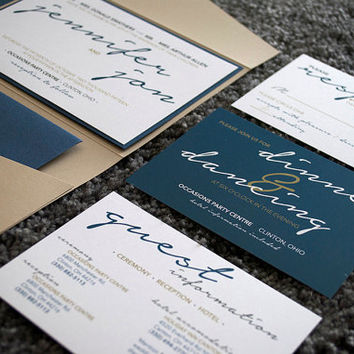 Custom Navy and Tan Wedding Pocket Invitation Suite- Modern Creative Invite w/ RSVP card Reception, Travel Fall Blue White SAMPLE or DEPOSIT
