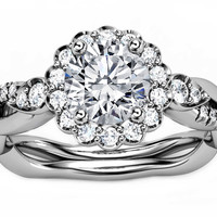 Engagement Ring - Diamond Halo Engagement Ring Twisted Pave Band in 14K White Gold - ES1002D