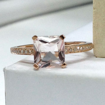Morganite Diamond Ring in 14K White Gold!6.5mm Asscher Cut Morganite Engagement Ring,Unique Prongs,Wedding Bridal Fine Ring,New Design