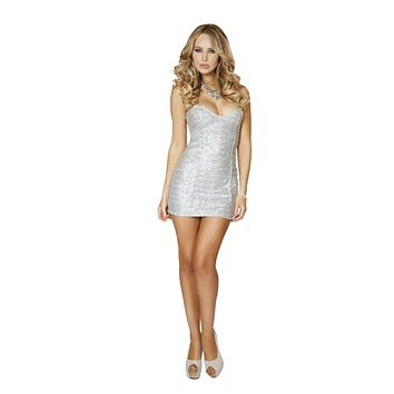 Roma 3153 Silver Sequin Mini Dress