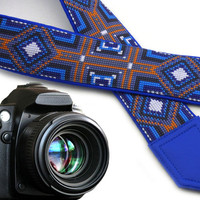 Blue tribal camera strap. Camera strap native. Bright multicolor ethnic camera strap. Blue, black, orange replacement strap for DSLR and SLR