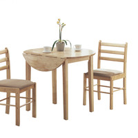 """Natural 3 Piece Dining Set with a 36"""" Round Drop Leaf Table"""