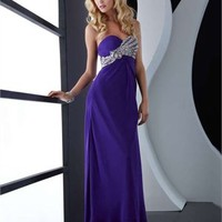 Sweetheart Column open back dark blue Long with Sequins Prom Dress PD0829