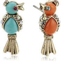 "Betsey Johnson ""Betsey's Delicates"" Turquoise and Coral Bird Stud Earrings"