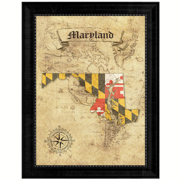Maryland State Vintage Map Gifts Home Decor Wall Art Office Decoration