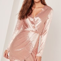 Missguided - Silky Long Sleeve Wrap Dress Pink