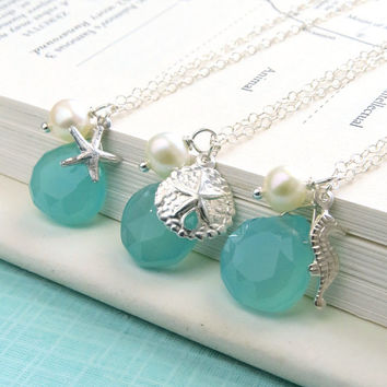 Set of 4 Necklaces, Chalcedony, Pearl, and Your Choice of Sand Dollar, Starfish or Seahorse Charms, Beach wedding