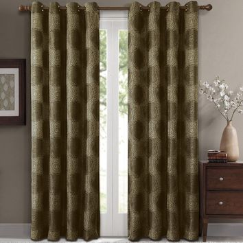 Green Leington Pair (Two Panels ) Jacquard Grommet Window Curtain Panels