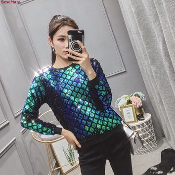 SexeMara fashion The New Loose Fish scales Sequins Round neck Long sleeve T-shirt free shipping