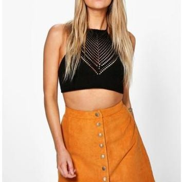 Adali Button Front Suedette Scalloped Skirt | Boohoo