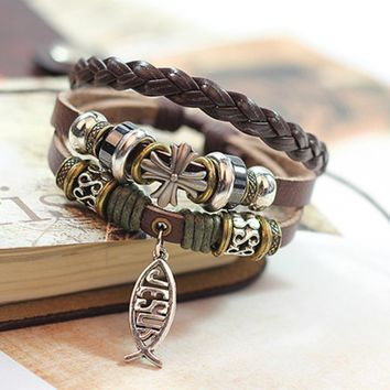 Leather Bracelet  Jesus Cross Fish Pattern