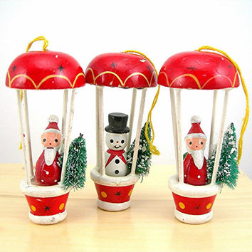 "Christmas Tree Ornaments, Vintage Wood Ornaments, 2 Santa and 1 Snowman, Holding Flocked Tree in 3"" Hot Air Balloon, Christmas Decor"