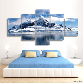 5 Panels Snow Mountain Landscape Painting Canvas Printing Modern Home Wall Decor Picture for Living Room Unframed