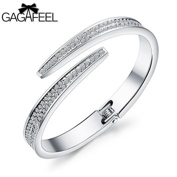 GAGAFEEL Star Women Cuff Bracelets Bangles Laser Engrave Logo Stainless Steel Bangle Wrap Watch Jewelry for Girl Gift