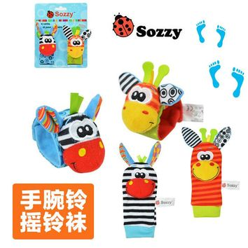 SOZZY 2pcs/pair Wrist Band Rattle Foot Socks Ring Bell colorful Infant Baby Developmental Toy Plush Newborn Soft Doll Cute