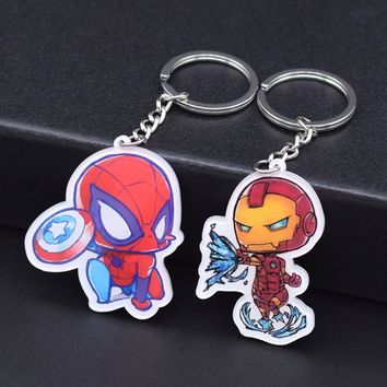 New Arrival Ironman and Spiderman Keychain 2pcs/lot Cute The Avengers Anime Keyring Key Chain Accessories