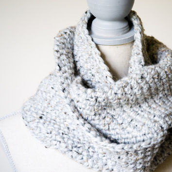 Chunky Silver Gray Loop Scarf - Made to order - FREE SHIPPING