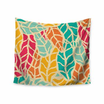 """Bluelela """"Natural Leaves 002"""" Teal Yellow Nature Pattern Digital Vector Wall Tapestry"""