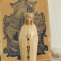 Vintage Virgin Mary Fatima rhinestones crown statue Shabby kitsch religious altered