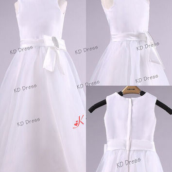 Elegant Ivory Tulle Skirt Satin Flower Girl Dress Toddler Birthday Party Dress with Sash/Bow