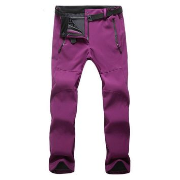 Winter Women Outdoor Hiking Pants Fleece Climbing Thermal Pant Waterproof Softshell Mujer Camping Sports Pant Ski Fishing Pants