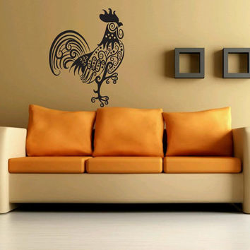 Great Gift Wall Vinyl Sticker Decals Mural Art Decor Design Tribal Rooster Bird Farm 320