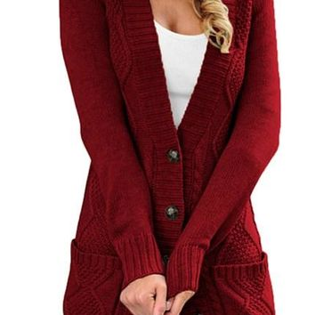 Women Burgundy Front Pocket And Buttons Closure Cardigan