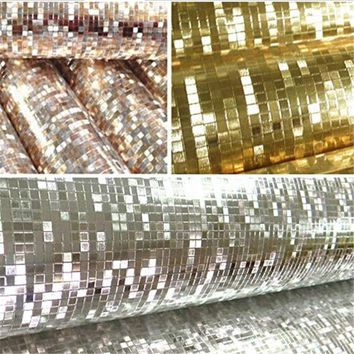 Glitter PVC Wallpapers Rolls Mirror Effect Mosaic Sparkle Wall Papers Light Reflect Golden Silver Foil Walls Papers Home Decor