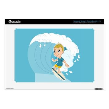 Surfing boy cartoon Samsung skin Samsung Chromebook Decals