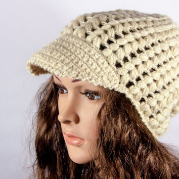 Crochet Hat, Natural Chunky Hat, Women's cap by LoveKnittings