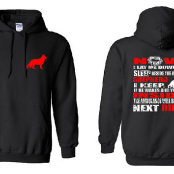 German Shepherd Hoodie Now I Lay Me Down To Sleep Beside The Bed I Keep Unisex Hooded Sweatshirt Great Shepard Shirt Pet Gift Police Dog