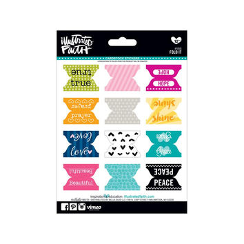 Fold It: 12 Illustrated Faith Tab Stickers; For Bible, Handmade cards, ETC