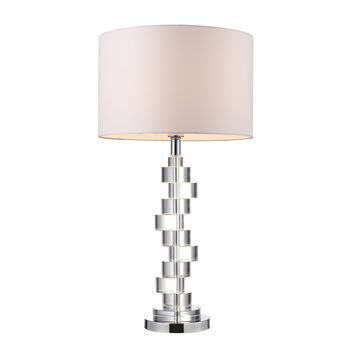 D1480 Armagh Table Lamp In Clear Crystal And Chrome With Pure White Faux Silk Shade - Free Shipping!