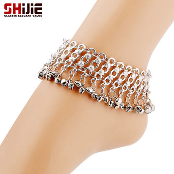Vintage Silver Chain Ankle Bracelets Anklets For Women Lovely Bell Foot Jewelry Summer Barefoot Sandals Femme Long Beach Anklet