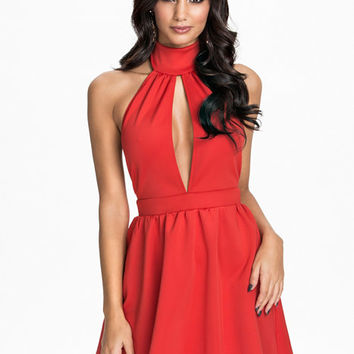 High Neck Skater Dress - Oneness - Red - Party Dresses - Clothing - Women - Nelly.com