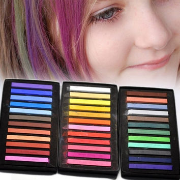 36Colors Temporary Non-toxic Hair Chalk Dye Soft Hair Pastels Sticks Kit Hair Color Pen  (Size: 59mmx8mmx8mm, Color: Multicolor) = 1705755332
