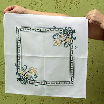 Handmade textile table napkin cross stitch hand embroidery decorative use only