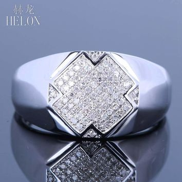 HELON Men's Genuine Diamonds Band Pinky Ring Sterling Silver 925 Pave Set Diamonds Wedding Engagement Band Ring Men's Jewelry