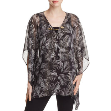 MICHAEL Michael Kors Womens Metallic Sheer Caftan