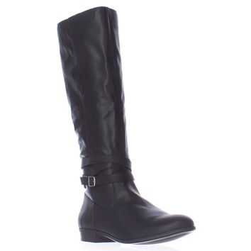SC35 Fridaa Wide Calf Riding Boots, Black, 5.5 US