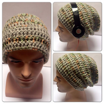 BUY1 GET1 Half PRICE,Designer mans/mens/unisex hand crocheted/knitted oversized slouch beanie snood hat,grey,green multi striped gaming hat.
