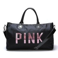 """ Pink "" Printed High Quality Durable Victoria's Secret Like Sport Exercise Carry on Yoga Gym Travel Luggage Bag"