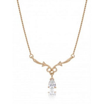 """The """"Emily"""" Floral Y Drop CZ Bridal Necklace Gold Plating [Jewelry]"""