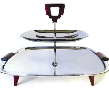 Glo-Hill Tiered Serving Tray, Chrome and Cherry Bakelite, 1960s