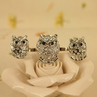 High Quality Fashion Alloy Costume Jewellery Ring For Women Silver Triple Owls Double Ring