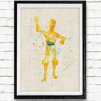 Star Wars C3PO Watercolor Art Print, Minimalist Art Print, Watercolor Poster, Watercolor Print, Home Decor, Not Framed, Buy 2 Get 1 Free!